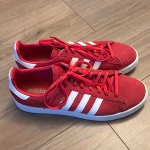 Adidas Campus red suede sneakers